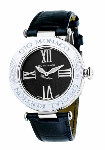 Gio Monaco Women's 777A-F Mandolino Black Dial Musical Leather Diamond Watch