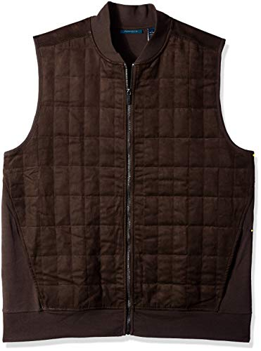 Perry Ellis Men's Big and Tall Quilted Faux Suede Full Zip Vest, Chocolate Brown, X-Large