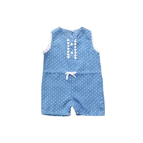 Genetic Denim Denim Leggings - Doric Newborn Baby Girls Lace Dot Print Bowknot Jeans Romper Jumpsuit Clothes