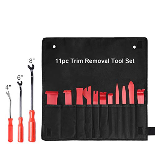 - XOOL Trim Removal Tools, Auto Door Panel Remover Pry Tools Set Nylon Panel Removal Tool Fastener Remover Set for Car Interior Removal Dash Panel Radio Trim Panel, 14 PCS Red
