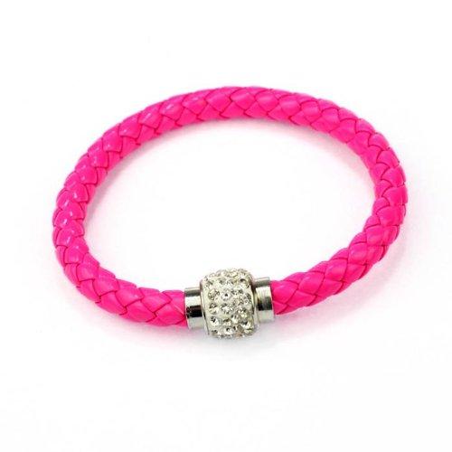 WoCoo Korean Fashion Woven Wristband Magnetic Rhinestone Buckle Leather Rope Bracelet (Hot Pink)