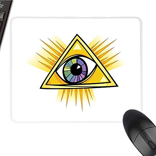 Eyecomputer Mouse padColorful Mystical Eye in a Yellow Triangle Truth Knowledge and Wisdom ThemesBlack Cloth Mousepad 9.8