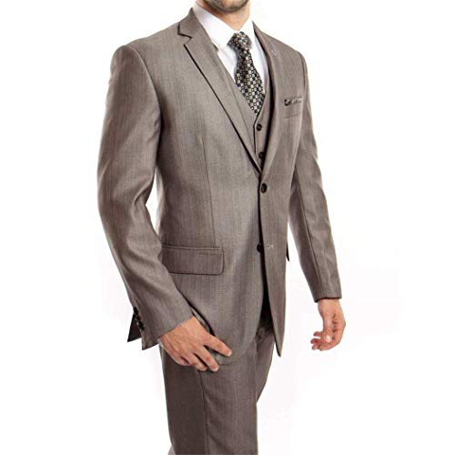 e 3 Piece 2 Button Classic Fit Suit New with Matching Vest(52L/46Waist Regular) ()