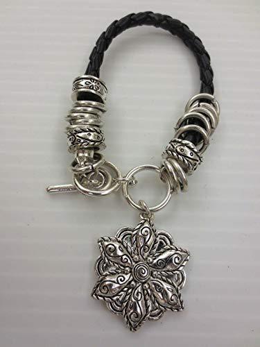 Premier Quality Silvertone Black Faux Leather Flower Charm Design Bracelets
