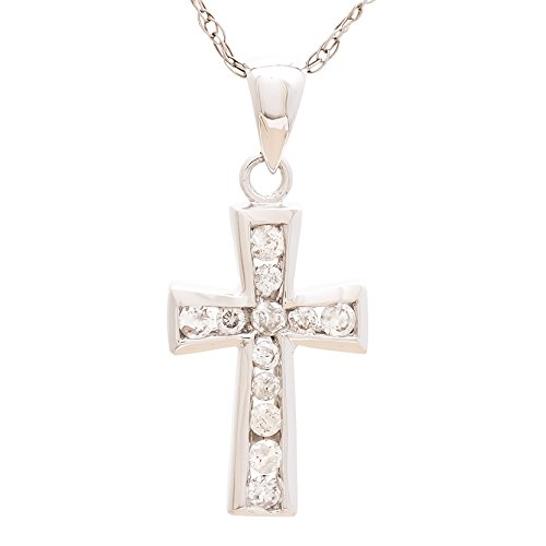 Diamond Cross Pendant in 14k W