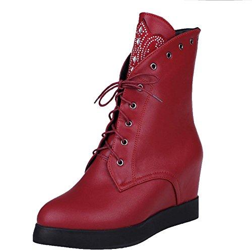 Mee Shoes Damen hidden heels Pailetten Schnürsenkel Stiefel Weinrot