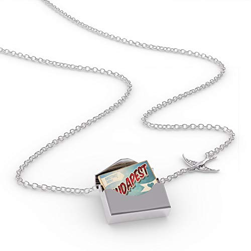 NEONBLOND Locket Necklace Greetings from Budapest, Vintage Postcard in a Silver Envelope