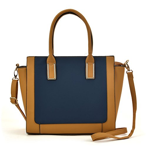 SALLY YOUNG Fashion Women Contrast Tote Bag Top Handle Satchel Handbags Blue