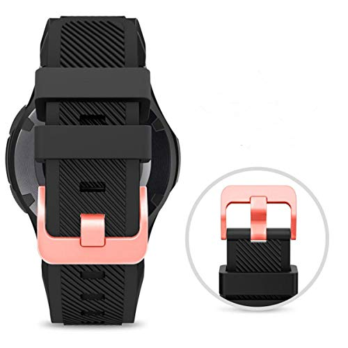 Midenso Bands for Samsung Gear S3 Frontier/Classic Watch Silicone Bracelet Rose Gold Buckle, Sports Silicone Band Strap Replacement Wristband for Samsung Gear S3 Frontier / S3 Classic (Black-RGB)