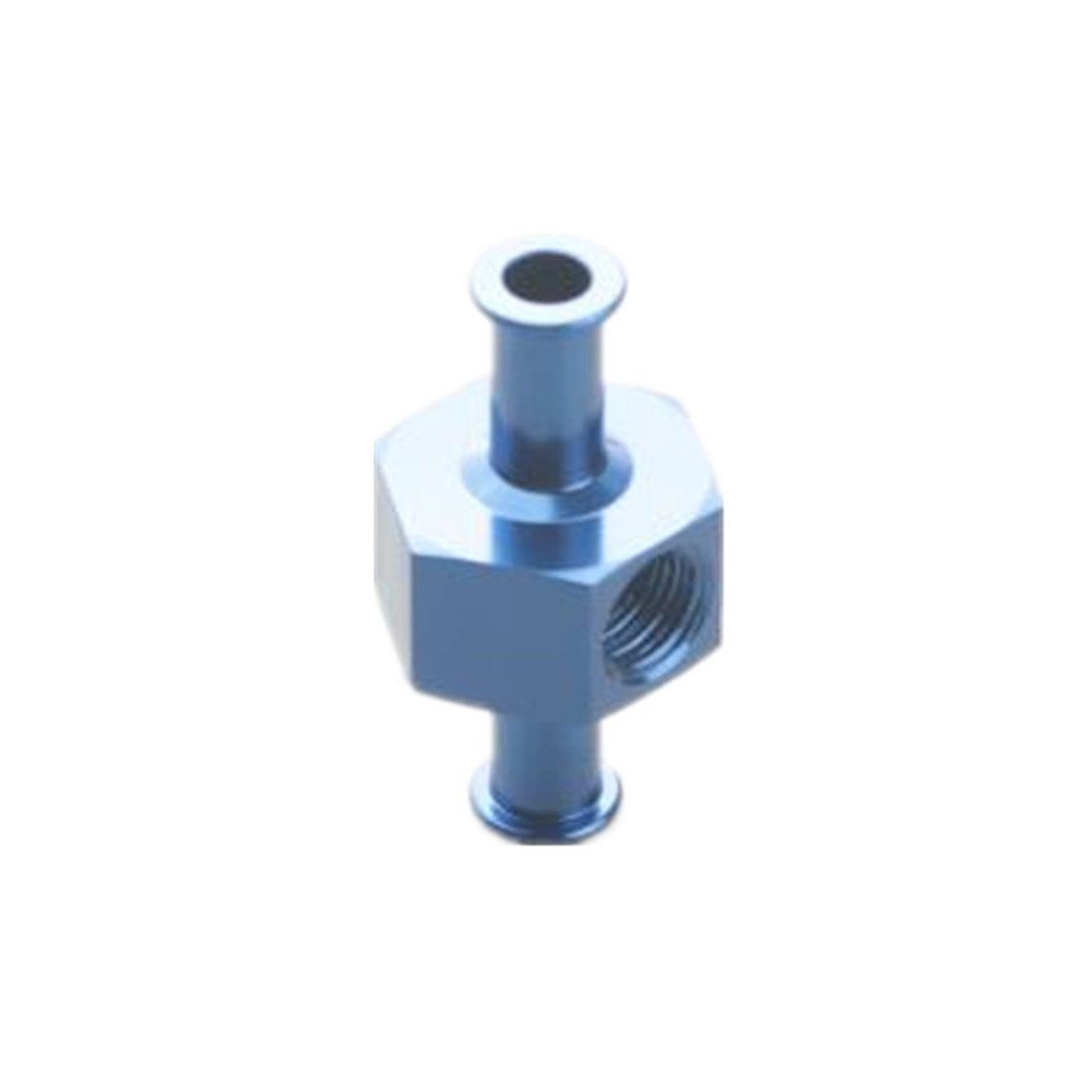 5//16 8mm Billet Fuel Pressure Gauge Inline Barb Adapter With 1//8 Port Black