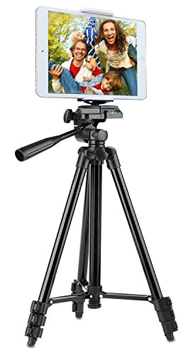 Tripod for iPad and iPhone [UPGRADED], PEYOU 50' Inch Portable Lightweight Aluminum Phone Camera Tripod+2 in 1 Universal Holder Mount Fits Smartphone(Width 2'-3.3') and Tablet (Width 4.3'-7')