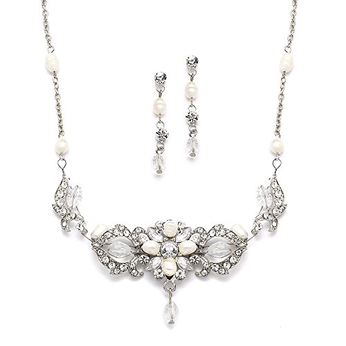 Mariell Freshwater Pearl Crystal Wedding Jewelry Set Brides - Necklace Earrings