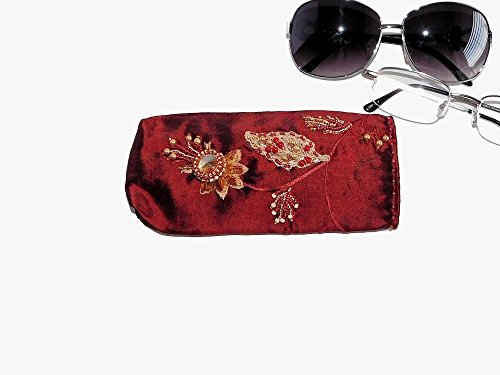 Bead Embroidered Red Eyeglasses Case with Rivoli and Lace for Reading Glasses or Sunglasses. Free shipping USA & - Free Eyeglasses Canada