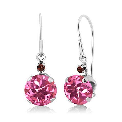 Garnet Earrings & Topaz Pink (2.04 Ct Round Pink Mystic Topaz Red Garnet 14K White Gold Earrings)