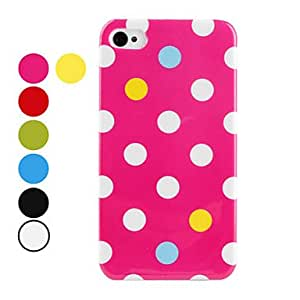 LZX Round Dots Pattern Hard Case for iPhone 4 and 4S (Assorted Colors) , Green