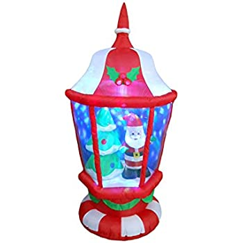 6 Foot Tall Lighted Christmas Inflatable Lantern with Santa and Tree Leds Yard Decoration