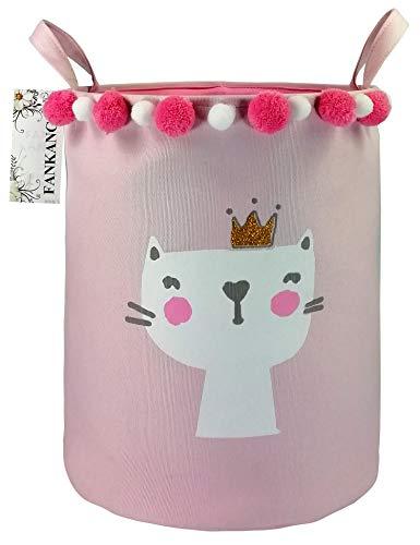 Storage Baskets,Collapsible & Convenient Nursery Hamper/Laundry Bin/Toy Collection Organizer for Kid's Room Baby Shower Basket(Pink Cat)