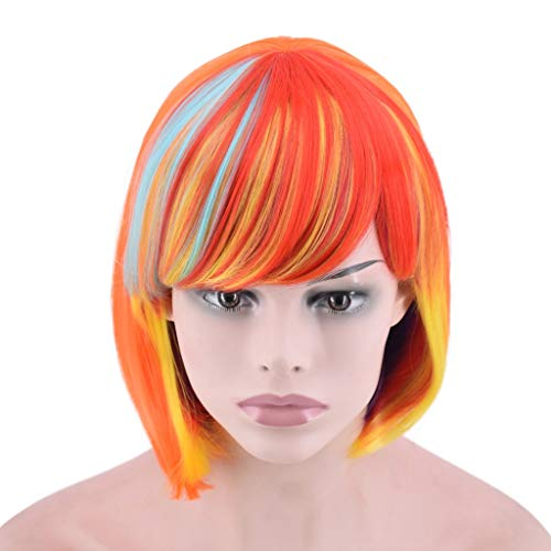 (NOGOQU SUMMER ACTION New Trend Short Bob Wig With Bangs Cosplay Costume Party Orange Mixed Color+ Breathable)