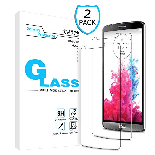 KATIN LG G3 Screen Protector - [2-Pack] LG G3 Tempered Glass Screen Protector Bubble Free 9H Hardness with Lifetime Replacement Warranty