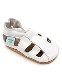 Soft Leather Baby Sandal Shoes with Suede Soles by Dotty Fish - Boys and Girls - White - Newborn to 2-3 Years