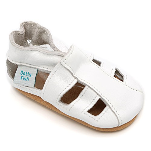 Soft Leather Baby Sandal Shoes with Suede Soles by Dotty Fish - Boys and Girls - White - 12-18 Months (Walker Pre Sandals)