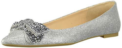 Jewel Badgley Mischka Women's ZANNA Shoe, silver fabric, 8.5 M US