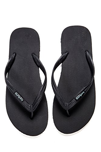 Bumpers Natural Rubber Flip Flops for Men, Eco-Friendly, Anti Slipping & Comfortable Flat Beach Sandals Black