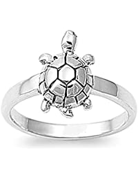 Sterling Silver Women's Turtle Ring Wholesale Pure 925 Band New 14mm Sizes 4-11