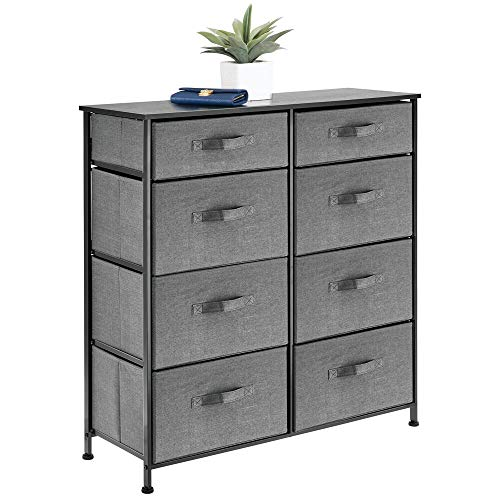 mDesign Vertical Furniture Storage Tower - Sturdy Steel Frame, Easy Pull Fabric Bins - Organizer Unit for Bedroom, Hallway, Entryway, Closets - Clear Front Windows - 8 Drawers - Charcoal Gray (Dresser Bedroom Furniture)