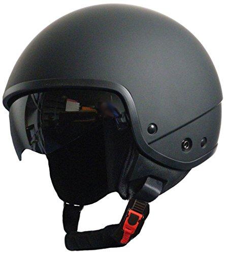 Jethelm Helm Motorradhelm Rollerhelm Chopperhelm mit Sonnenblende RALLOX 740D schwarz/matt (S, M, L, XL, XXL) Größe M