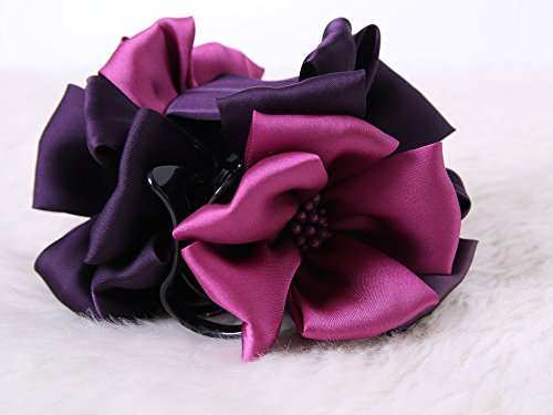 Flower large Size Claw Clips : Rose handmade claw clips (Violet)