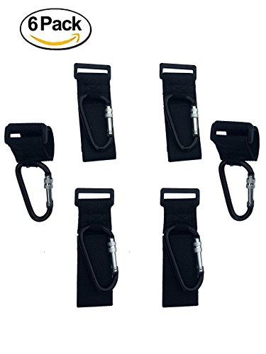 ALTINIFY Black Stroller Hook Clip with Lock – 6 Pack of Multi Purpose Hooks - Hanger for Baby Diaper Bags, Groceries, Clothing, Purse – Ideal for Mommy and Dad When Jogging, Walking or Shopping by Grow Different
