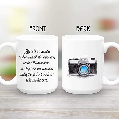 Camera Mug, Large 15 oz coffee mug, Life is like a camera, Photographer Gift, Inspirational Gift (Slr Coffee Mug)