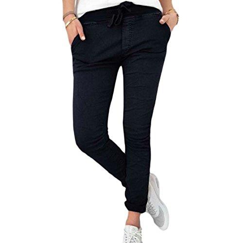 ColourfulWomen Stretch Pure Colour Smocked Waist Pocket Slimming Capri Pants Black L