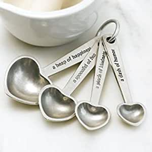 Beehive Kitchenware Pewter Measuring Spoons on Ring, Hearts with Quotes