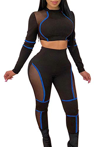 (Women Hot Halloween Ninja Knit Outfit See Through High Waist Strechy Mesh Clubwear Tracksuit Blue)