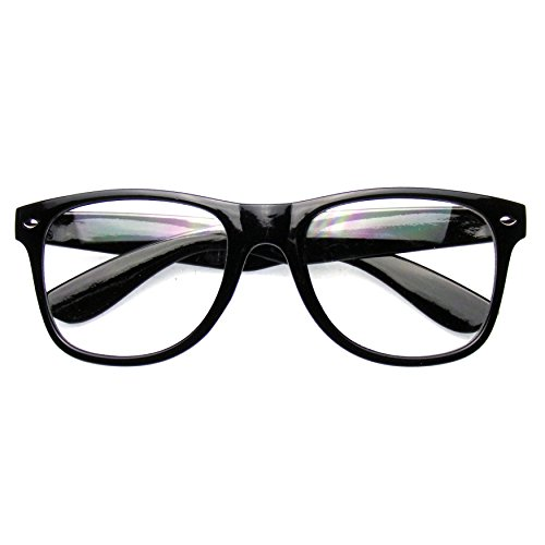 Emblem Eyewear - Nerd Black Horned Rim Glasses Glossy Clear - With Black Glasses Nerd