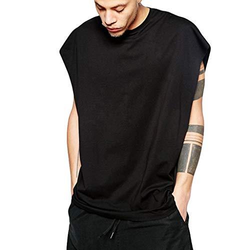 Kaniem Mens Hip Hop Sleeveless Tank Top Casual Longline Compression Tshirt Sport Vest Tee (XXL, Black) (Nike Dri Fit Legend Sleeveless Training Shirt)