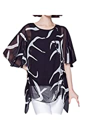 Women's Large Size Printed Shirt Fake Two Pieces Chiffon Shirt Short Sleeve Loose Trumpet Sleeves Shirt T-Shirt MEEYA