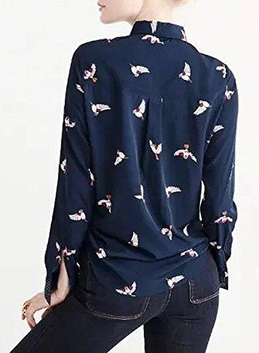 Azbro Mujer Blusa Botones Abajo Estampado Cuello con Corbata marino