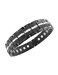 ProExl Mens Magnetic Titanium Bracelet Carbon Black Silver for Arthritis and Carpel Tunnel, Size Adjuster, Gift Box