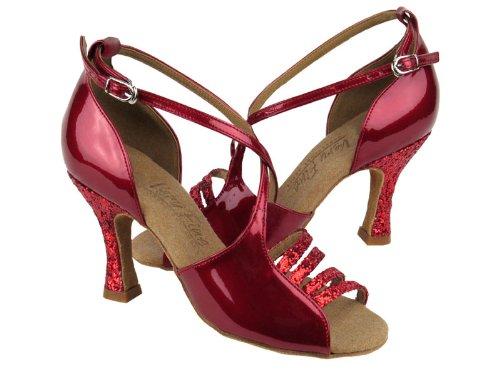 Dames Dames Ballroom Dansschoenen Uit Zeer Fijne C1651 Serie 2.5 Hak Rode Fonkeling & Rode Lak