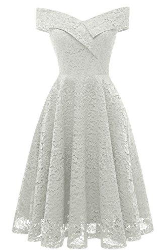 (MILANO BRIDE Vintage Princess Floral Lace Cocktail Off-The-Shoulder Party Dress Aline Swing)