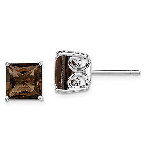 Mia Diamonds 925 Sterling Silver Smoky Quartz Earrings (8mm x 8mm)