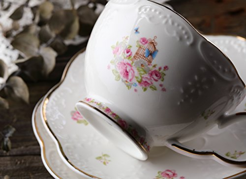 Jusalpha Fine China Porcelain Coffee Cups Flower Series Teacup Saucer Spoon with Teapot Warmer & Filter, 16pcs in 1 set (16pcs set) by Jusalpha (Image #5)