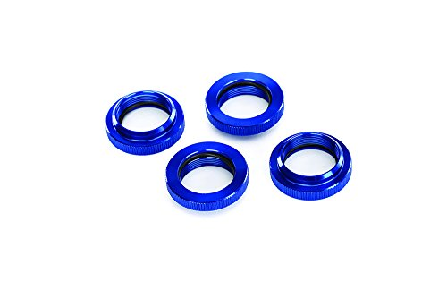 Traxxas 7767 GTX Shock Spring Retainers (Adjuster), Blue-Anodized Aluminum with O-Ring (Set of (Traxxas Spring Retainers)