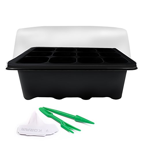 KORAM 10 Sets Seedling Starter Trays Plant Germination Kit with with Humidity Dome and Base 120 Cells, Plus