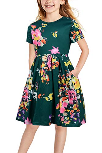 Gorlya Girl's Short Sleeve Floral Print Casual Vintage Pleated Puffy Swing Party Dress with Pockets for Kids 4-12 Years (GOR1008, 11-12Y, Green Print) -