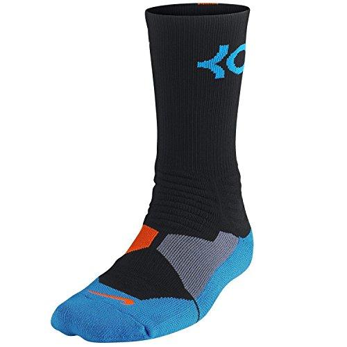 Nike KD Kevin Durant Hyper Elite Basketball Crew Black/Orange/Blue Socks - Socks Nike Black Orange