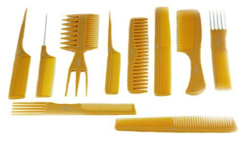 Annie 10 Piece Professional Comb Set color - Bone, perfect for styling hair, hair style, hair stylist, long hair, short hair, for all hair ()